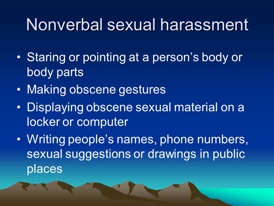 Nonverbal sexual harassment