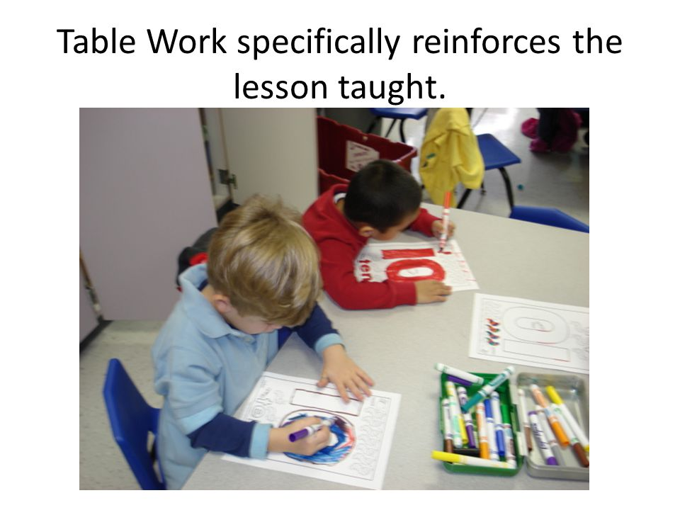 Table Work specifically reinforces the lesson taught.