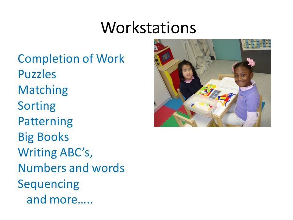 Workstations Completion of Work Puzzles Matching Sorting Patterning