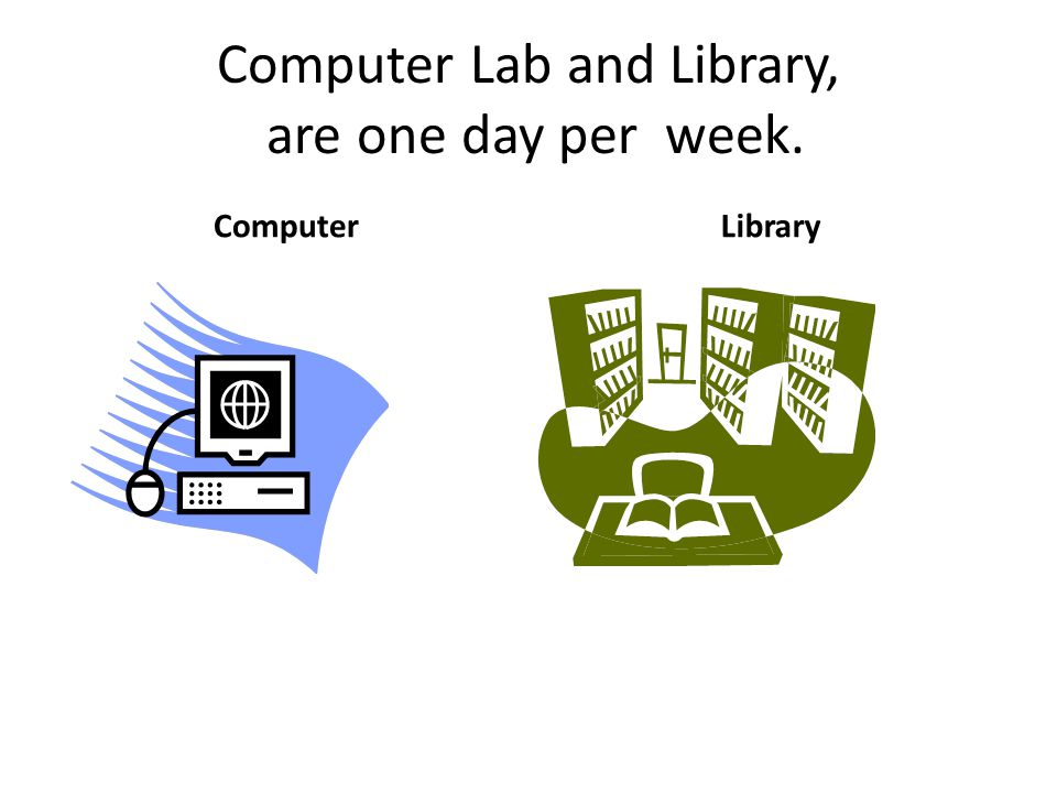 Computer Lab and Library, are one day per week.