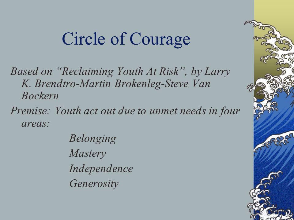 Circle of Courage Based on Reclaiming Youth At Risk , by Larry K. Brendtro-Martin Brokenleg-Steve Van Bockern.