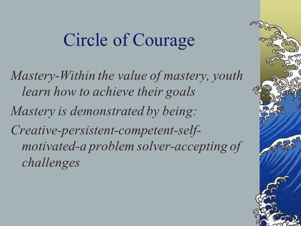 Circle of Courage Mastery-Within the value of mastery, youth learn how to achieve their goals. Mastery is demonstrated by being: