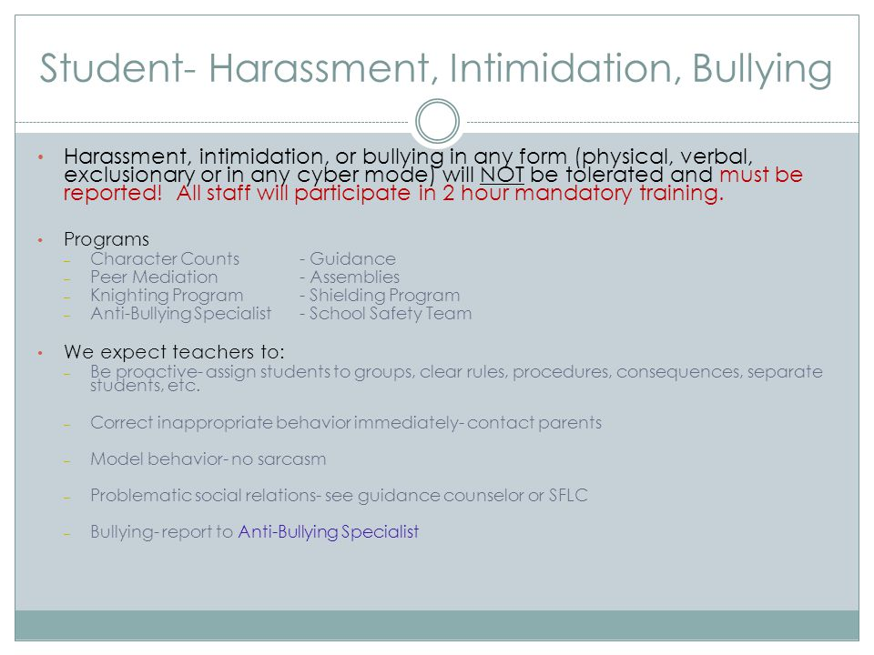 Student- Harassment, Intimidation, Bullying