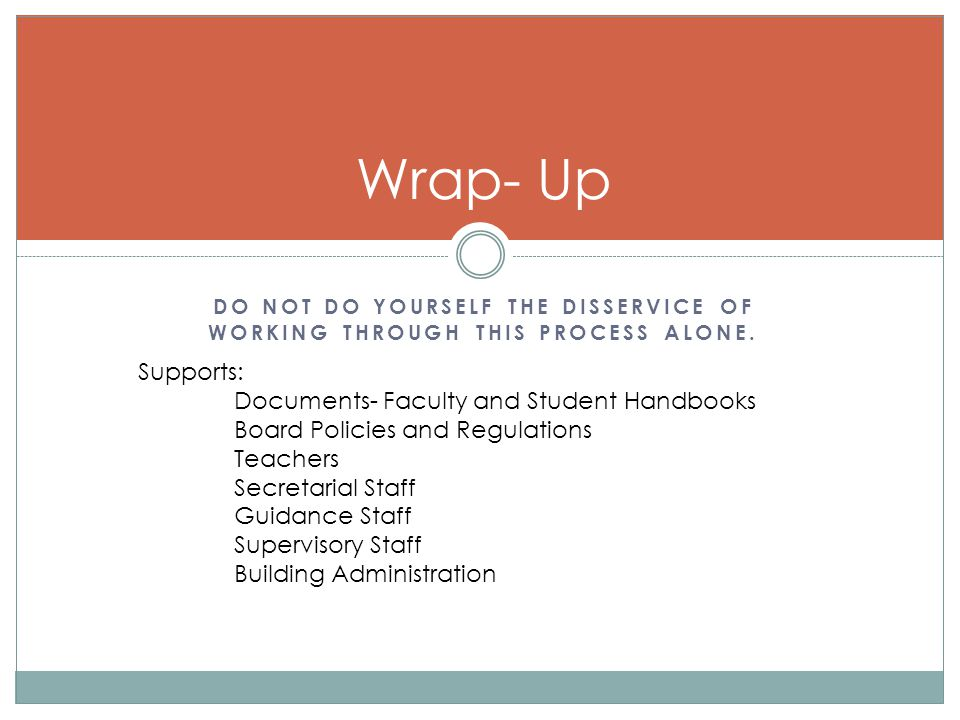 Wrap- Up Supports: Documents- Faculty and Student Handbooks