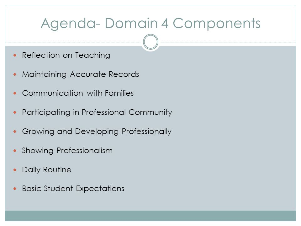 Agenda- Domain 4 Components