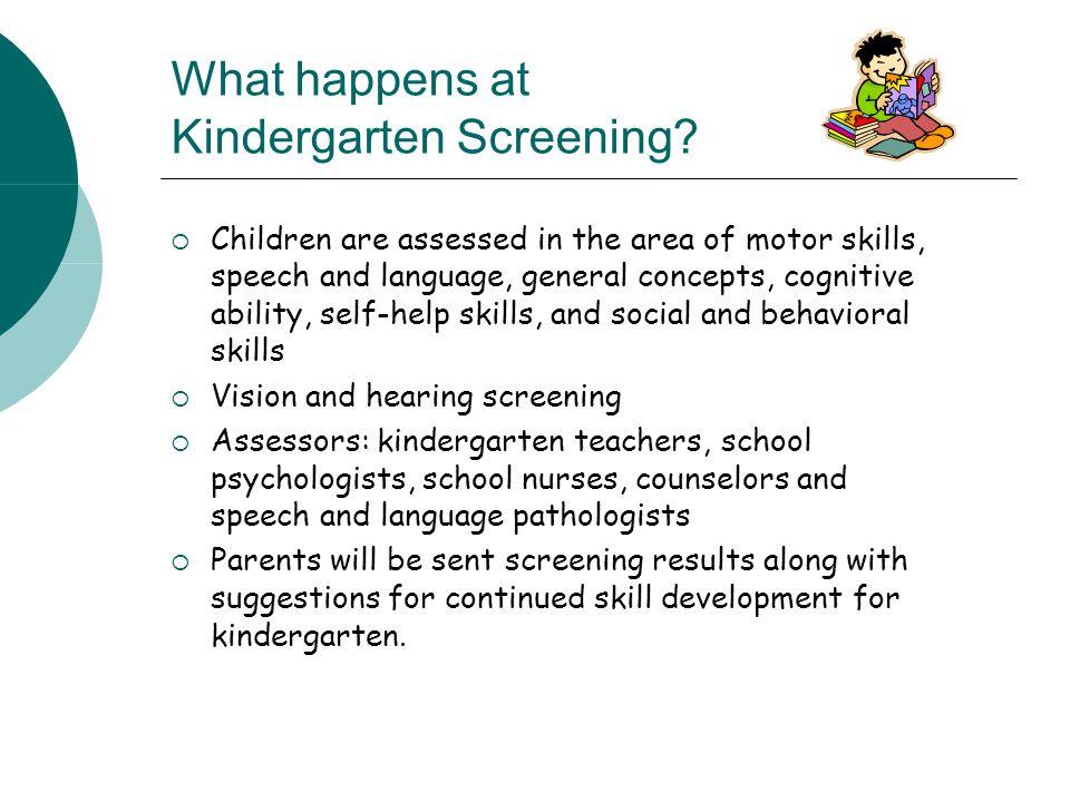 What happens at Kindergarten Screening