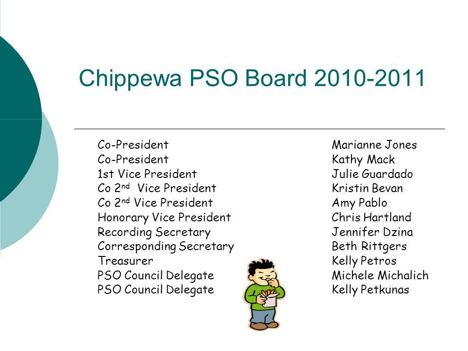 Chippewa PSO Board 2010-2011 Co-President Marianne Jones