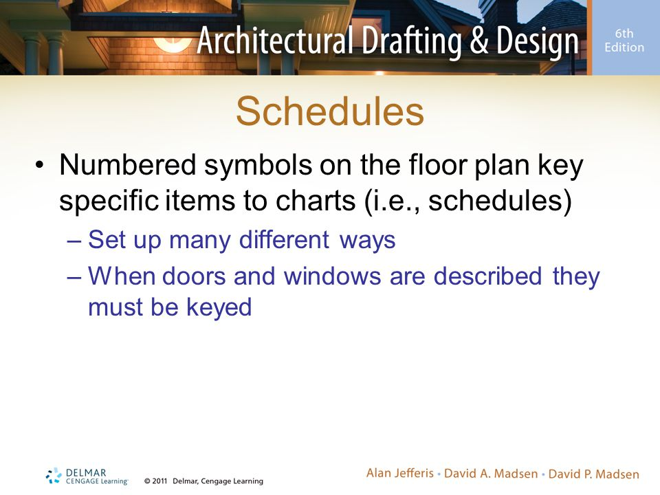 Schedules Numbered symbols on the floor plan key specific items to charts (i.e., schedules) Set up many different ways.