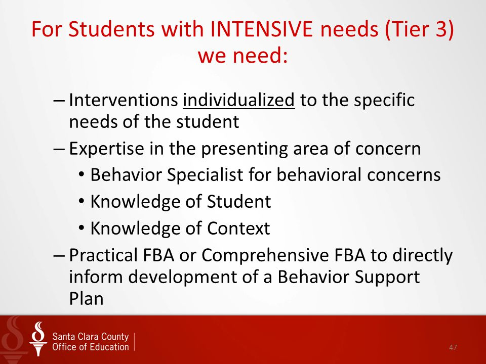 For Students with INTENSIVE needs (Tier 3) we need: