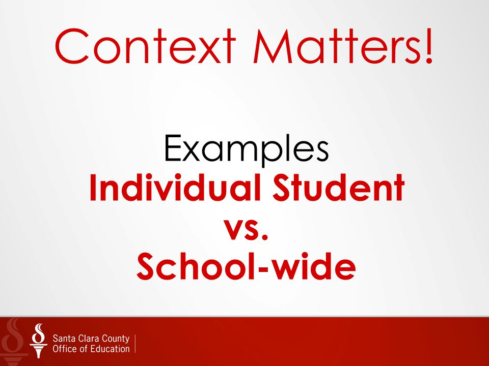 Context Matters! Examples Individual Student vs. School-wide