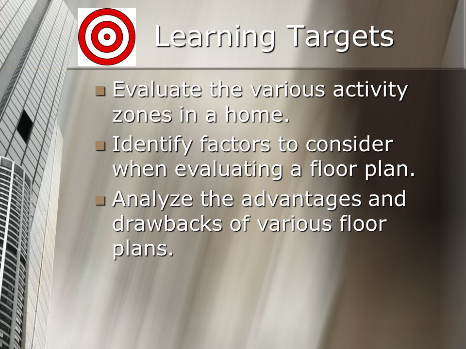 Learning Targets Evaluate the various activity zones in a home.