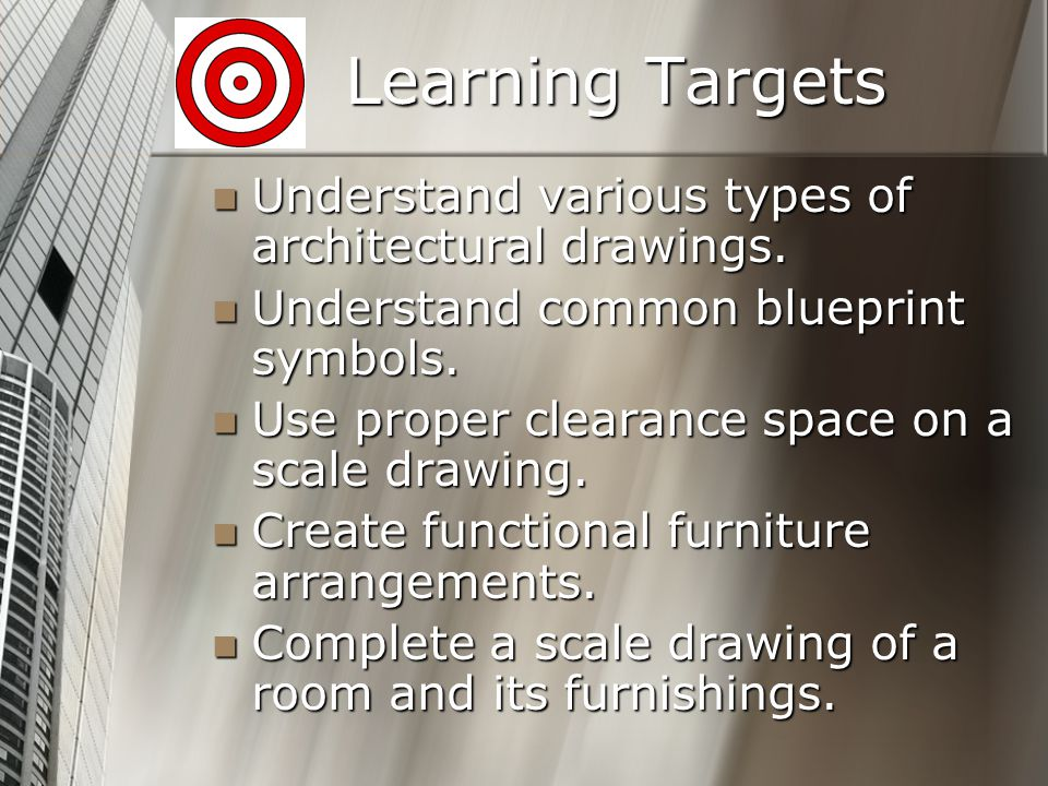 Learning Targets Understand various types of architectural drawings.