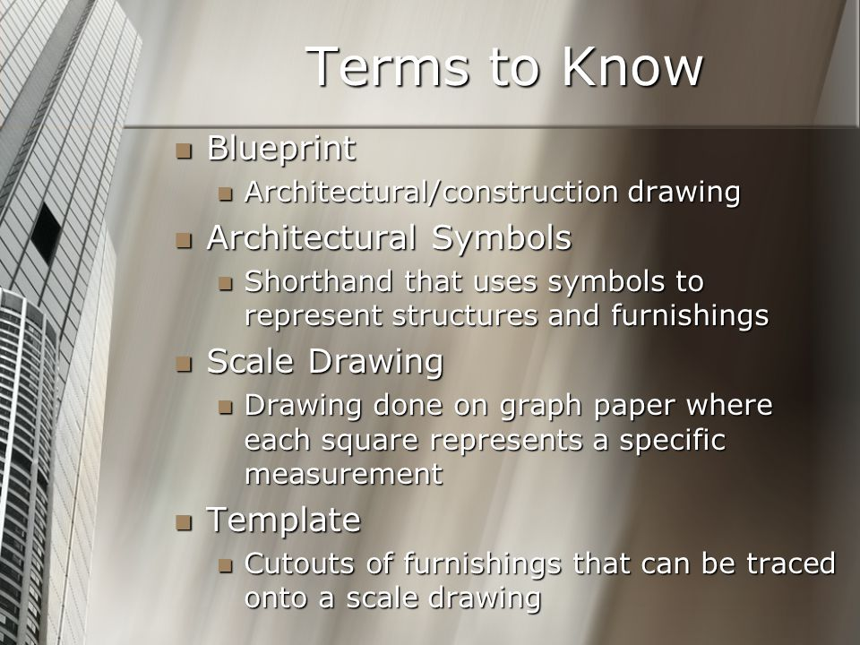 Terms to Know Blueprint Architectural Symbols Scale Drawing Template