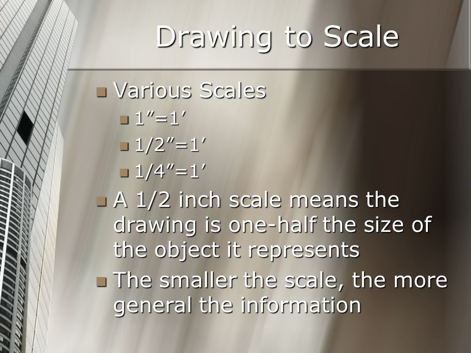 Drawing to Scale Various Scales