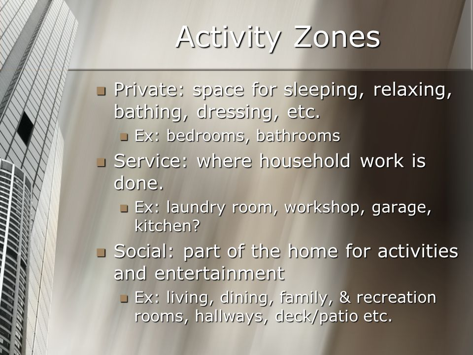 Activity Zones Private: space for sleeping, relaxing, bathing, dressing, etc. Ex: bedrooms, bathrooms.