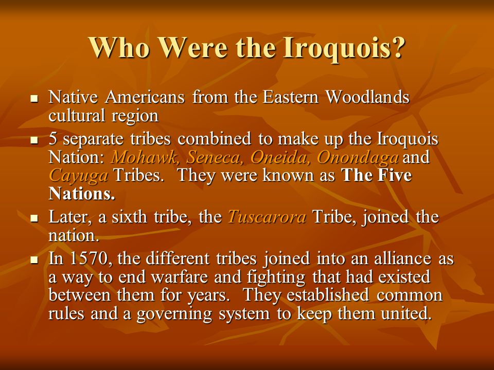 Who Were the Iroquois Native Americans from the Eastern Woodlands cultural region.