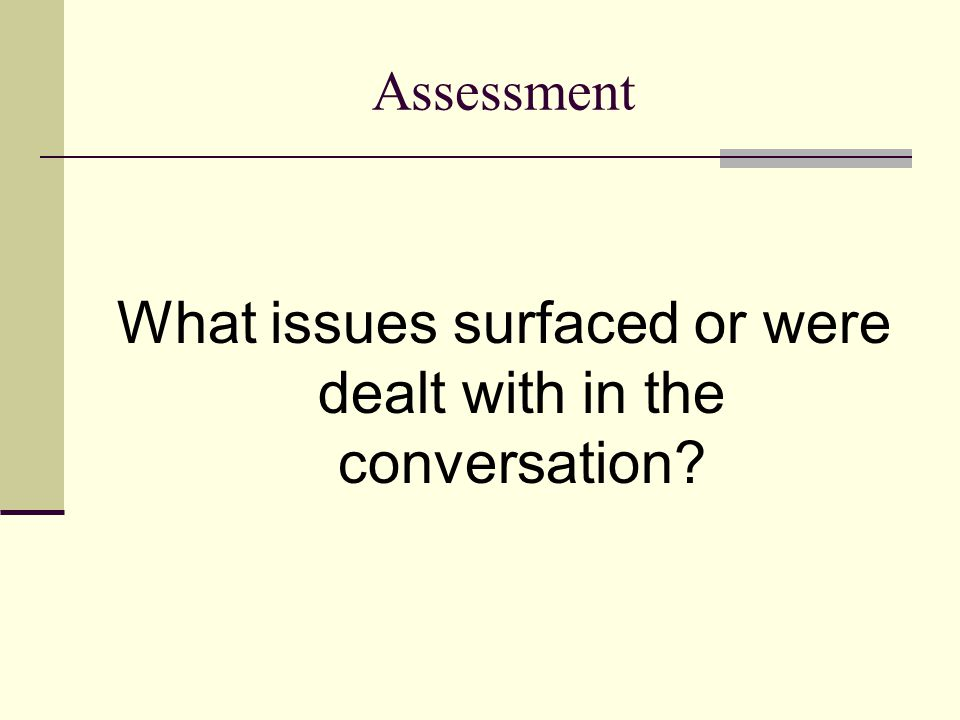 What issues surfaced or were dealt with in the conversation