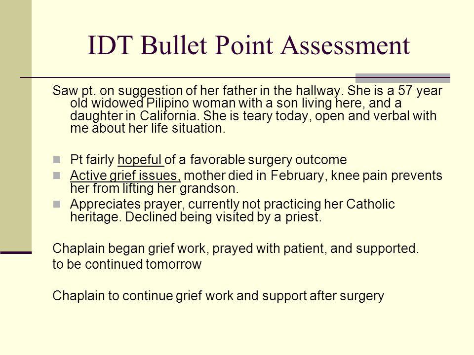 IDT Bullet Point Assessment