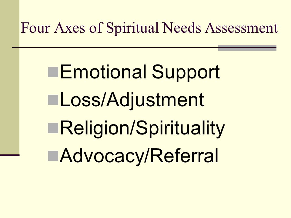 Four Axes of Spiritual Needs Assessment