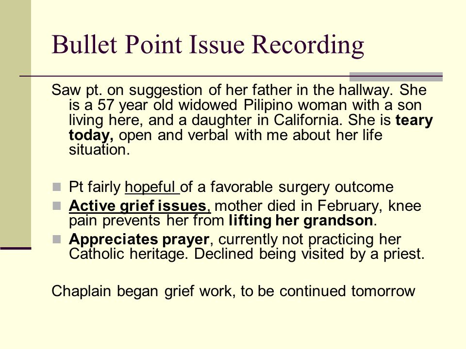 Bullet Point Issue Recording