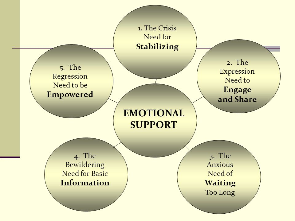 EMOTIONAL SUPPORT 1. The Crisis Need for Stabilizing