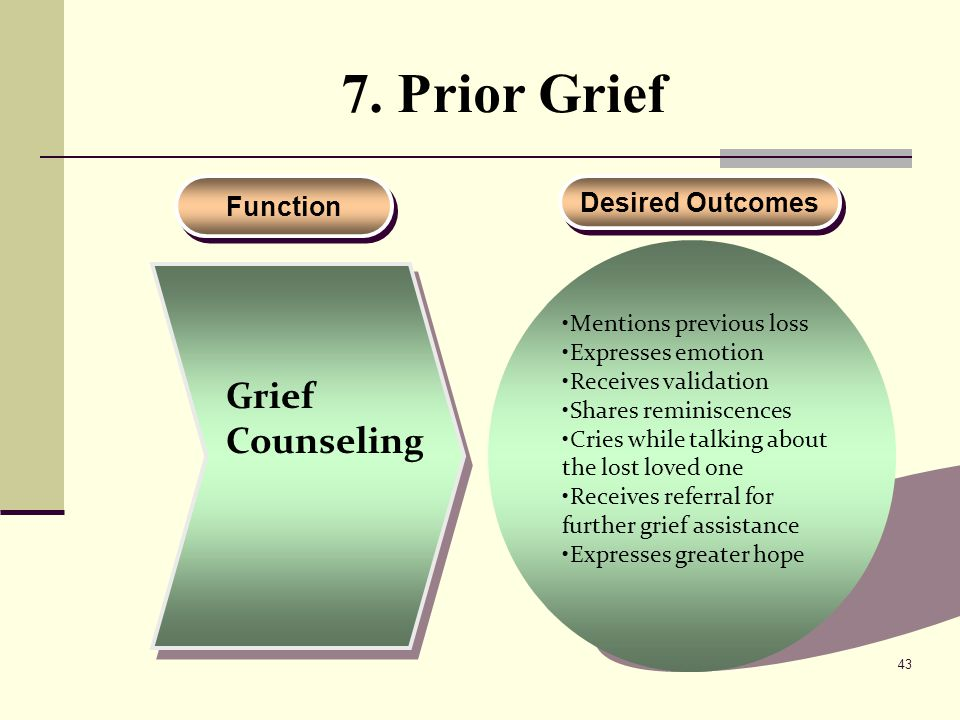 7. Prior Grief Grief Counseling Function Desired Outcomes