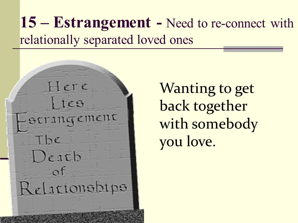 15 – Estrangement - Need to re-connect with relationally separated loved ones