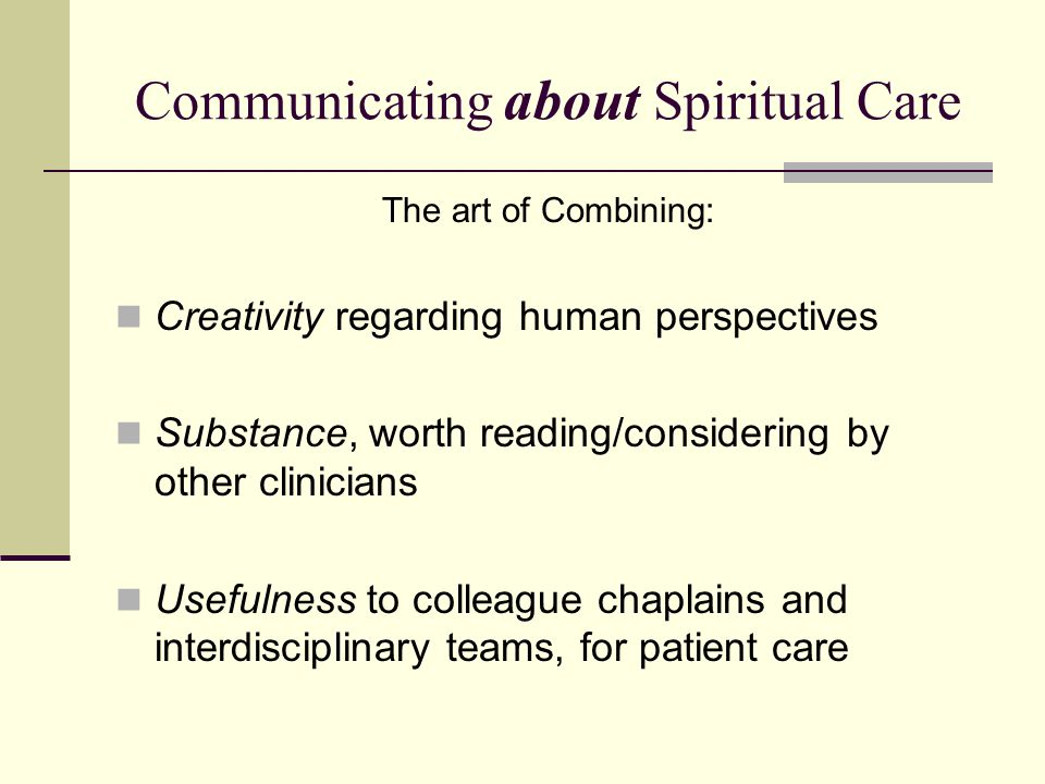 Communicating about Spiritual Care