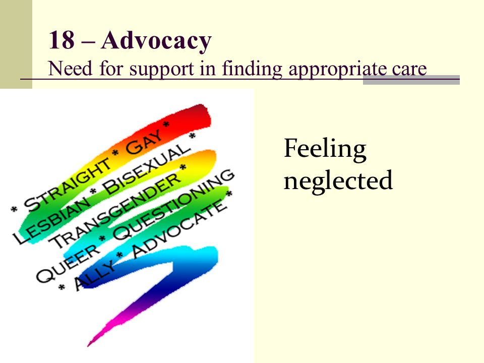18 – Advocacy Need for support in finding appropriate care