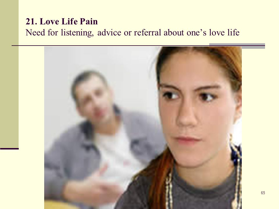 21. Love Life Pain Need for listening, advice or referral about one's love life