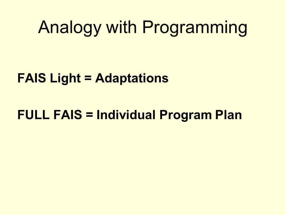 Analogy with Programming
