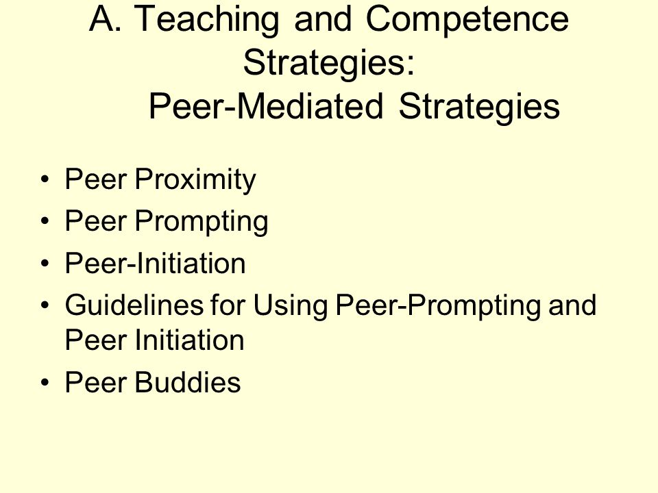 A. Teaching and Competence Strategies: Peer-Mediated Strategies