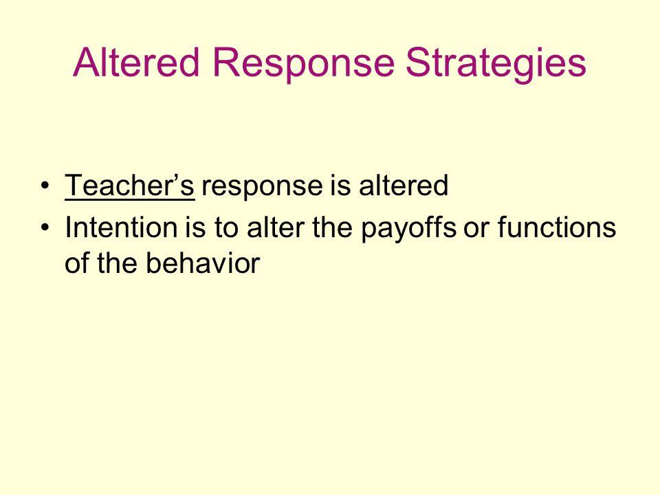Altered Response Strategies