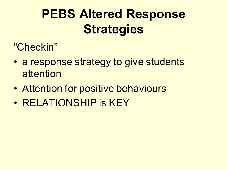 PEBS Altered Response Strategies