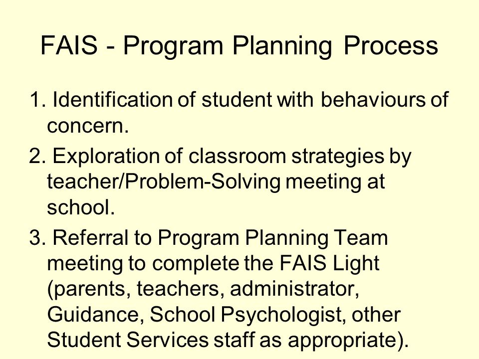 FAIS - Program Planning Process