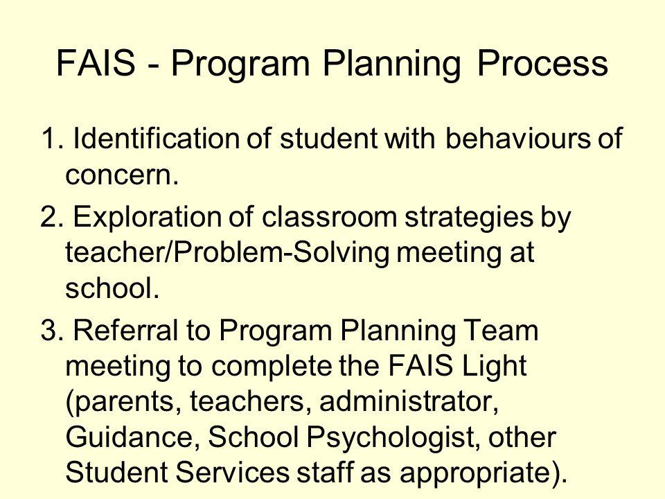 FAIS - Program Planning Process