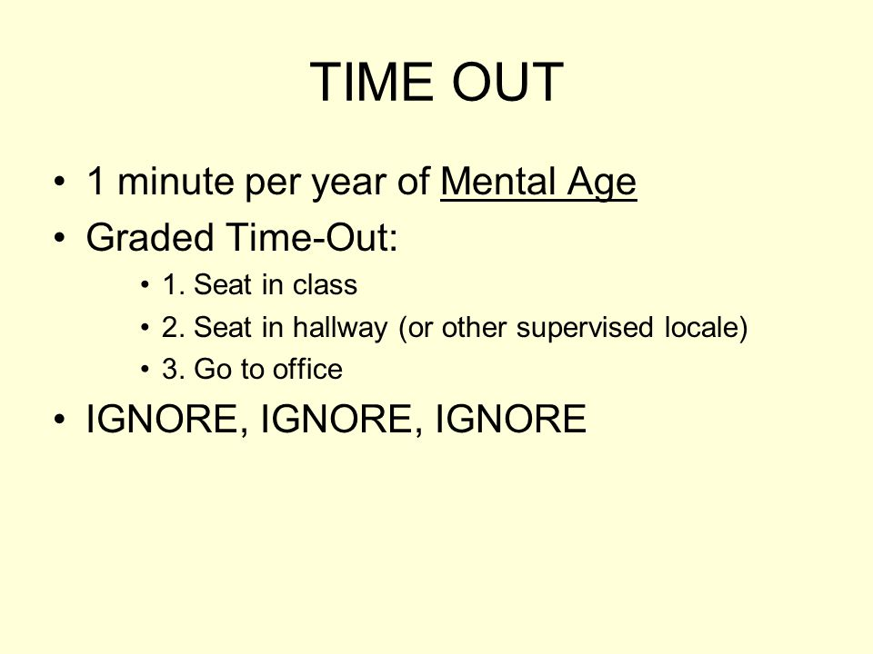 TIME OUT 1 minute per year of Mental Age Graded Time-Out: