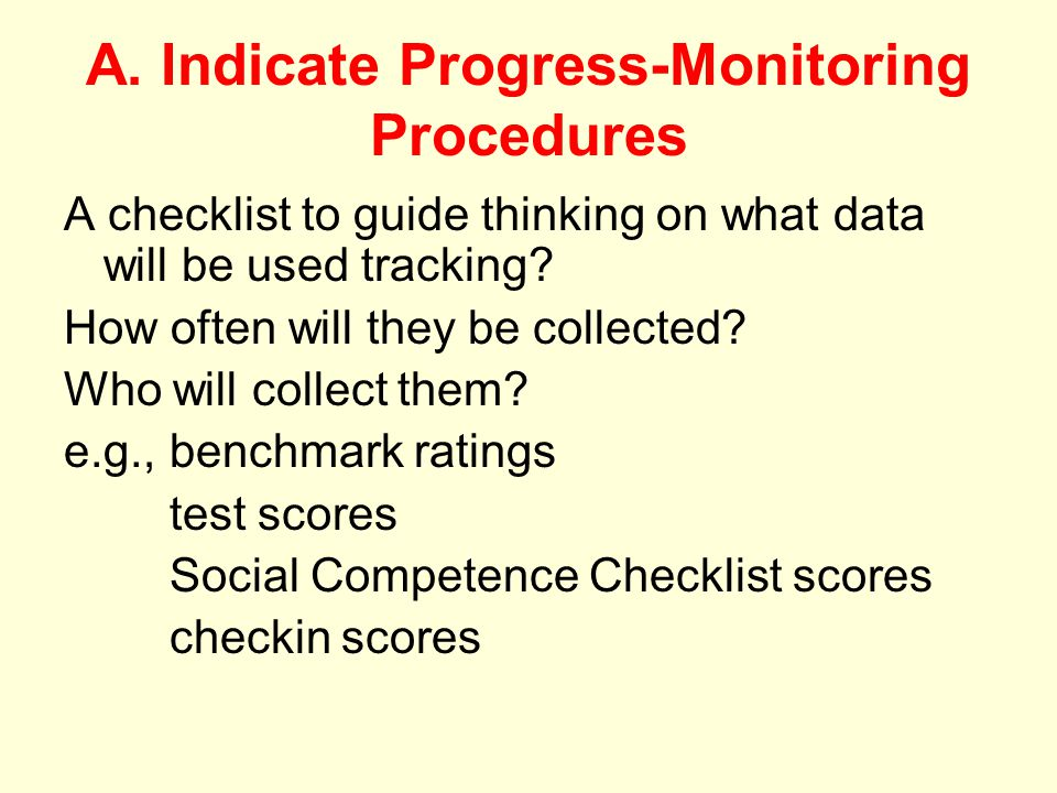 A. Indicate Progress-Monitoring Procedures