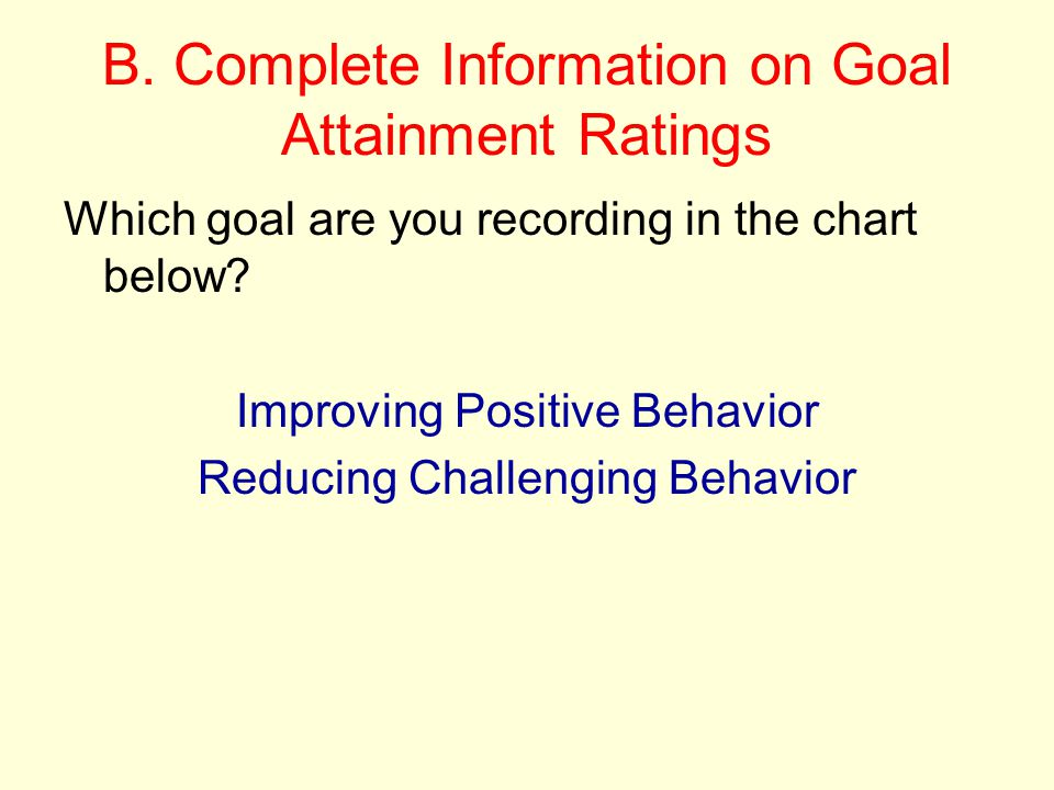 B. Complete Information on Goal Attainment Ratings
