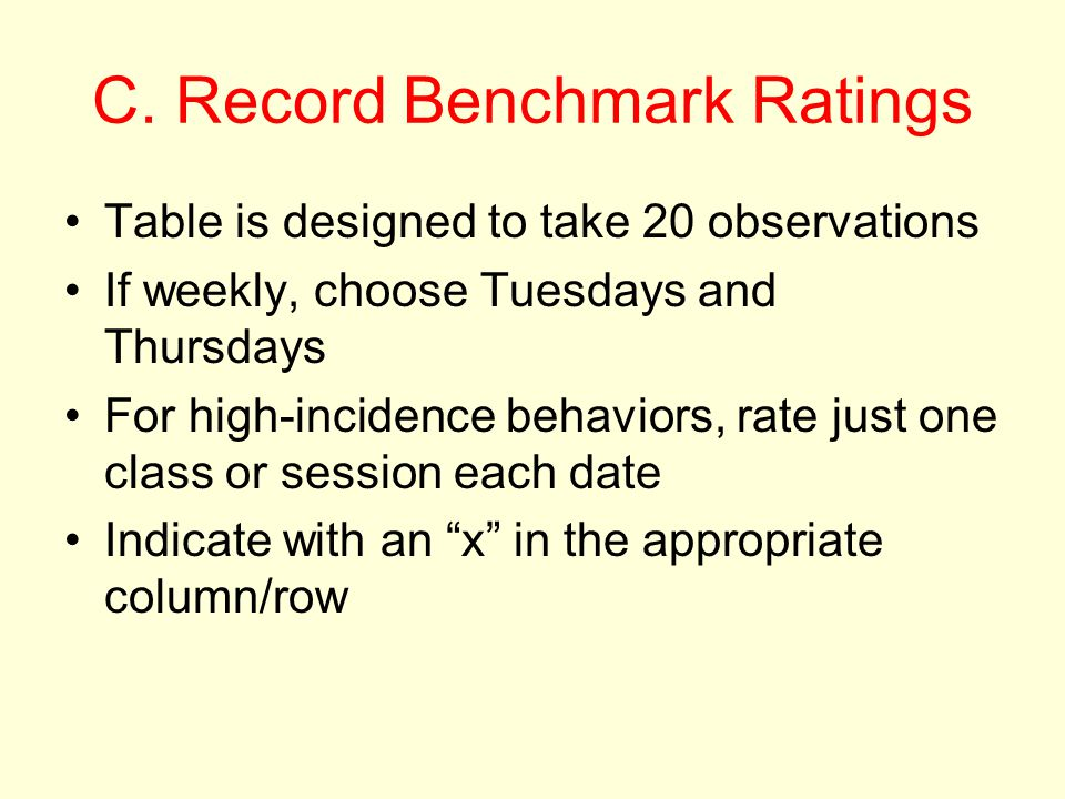 C. Record Benchmark Ratings