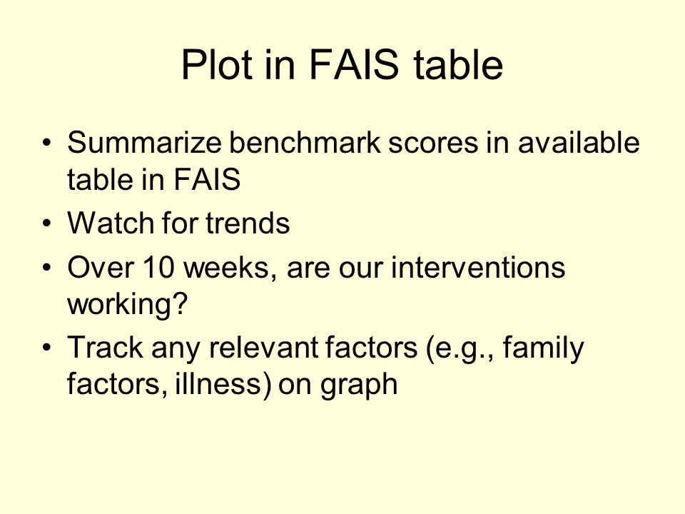 Plot in FAIS table Summarize benchmark scores in available table in FAIS. Watch for trends. Over 10 weeks, are our interventions working