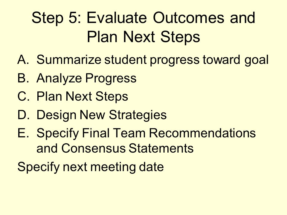 Step 5: Evaluate Outcomes and Plan Next Steps