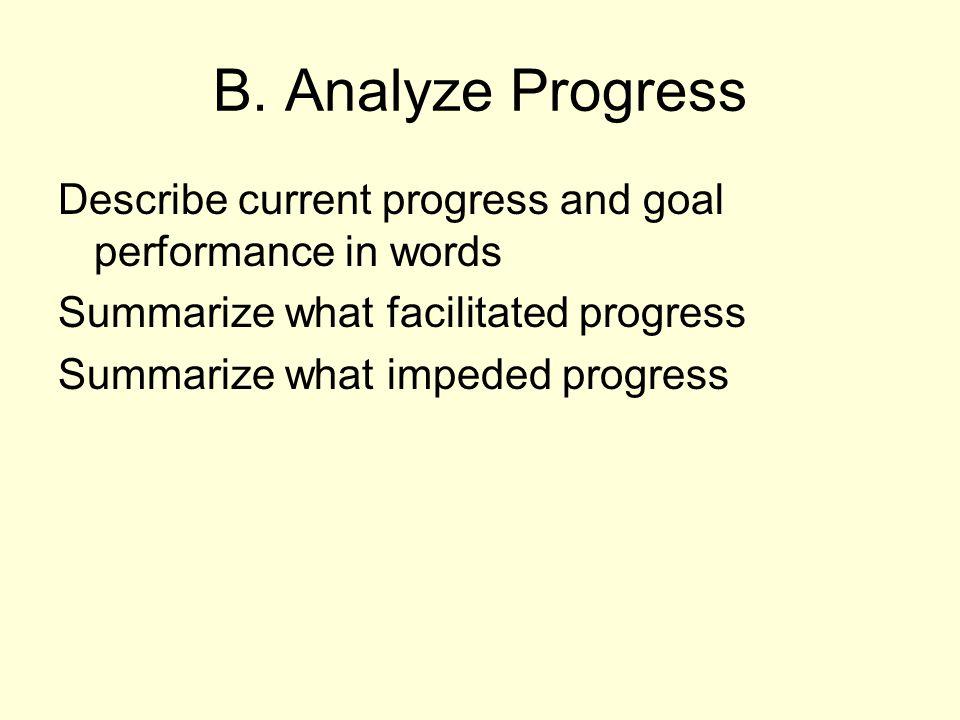 B. Analyze Progress Describe current progress and goal performance in words. Summarize what facilitated progress.