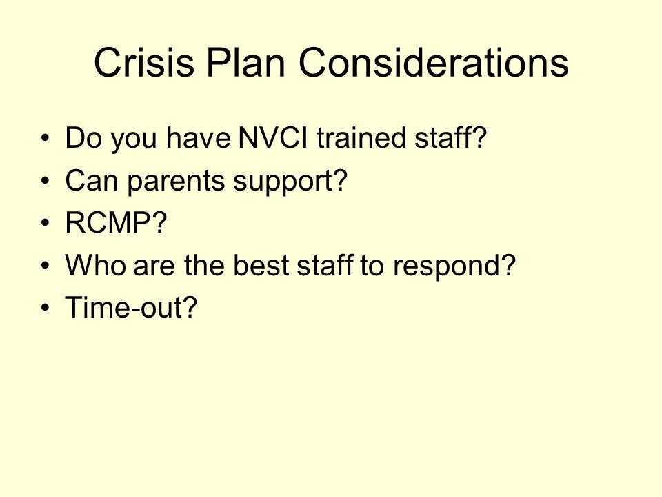 Crisis Plan Considerations
