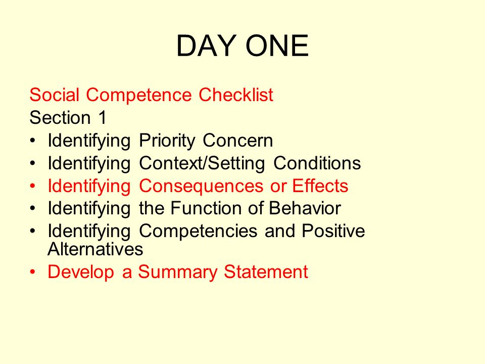 DAY ONE Social Competence Checklist Section 1