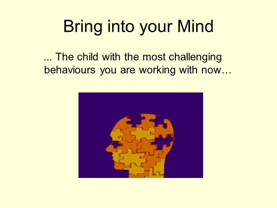 Bring into your Mind ... The child with the most challenging behaviours you are working with now…