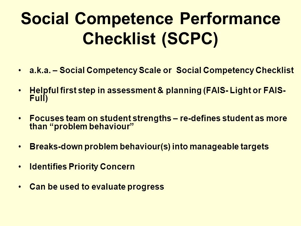 Social Competence Performance Checklist (SCPC)