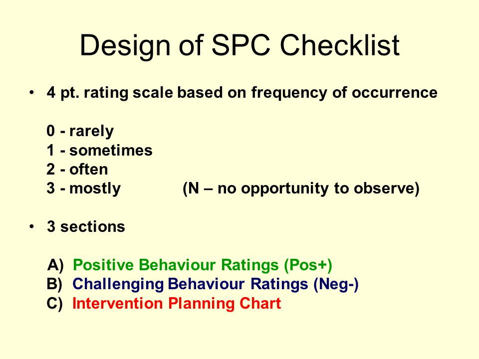 Design of SPC Checklist
