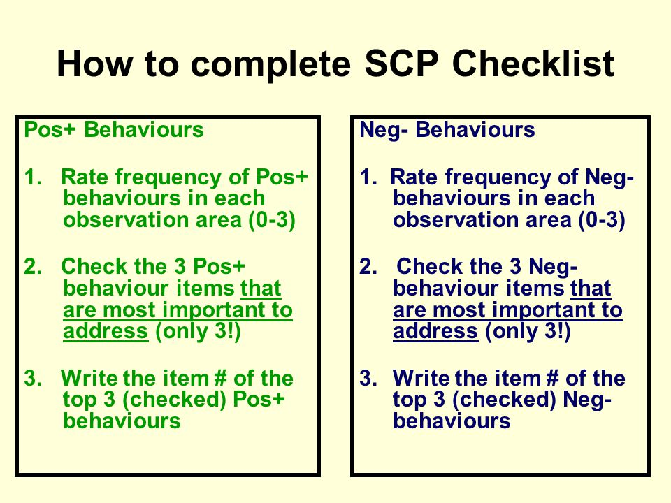 How to complete SCP Checklist