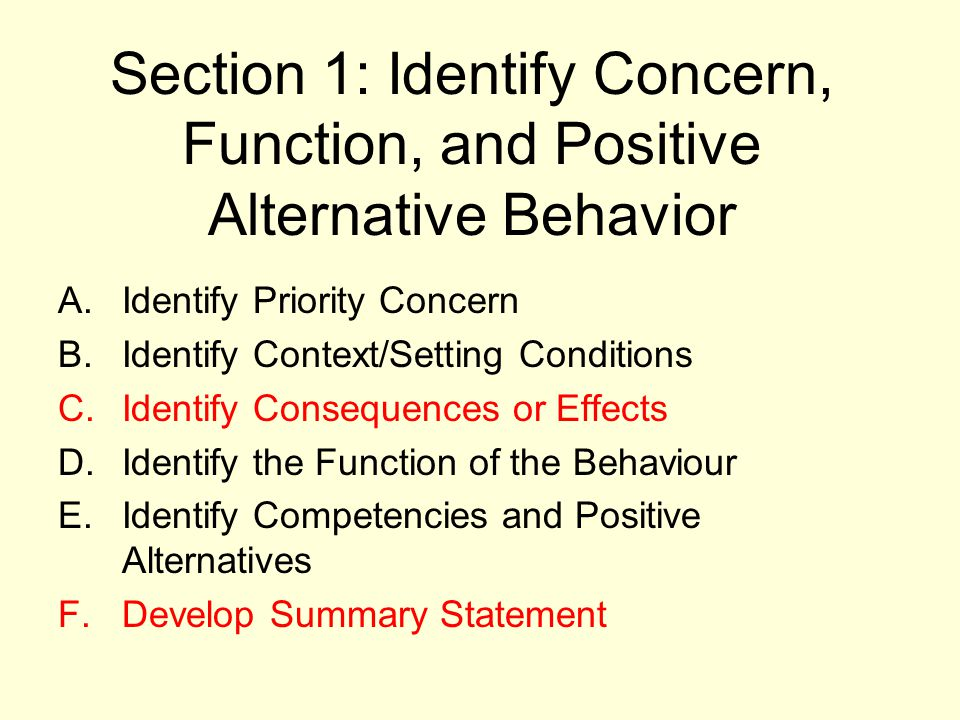 Section 1: Identify Concern, Function, and Positive Alternative Behavior